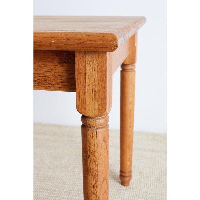 Oak American Oak Butcher Block Style Farm Table For Sale - Image 7 of 13