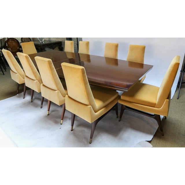 Mid-Century 1960s Mahogany Dining Table & Chairs by Arturo Pani With Brass Inlay For Sale - Image 9 of 12