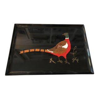Mid Century Lacquered Tray With Raised Pheasant Motif For Sale