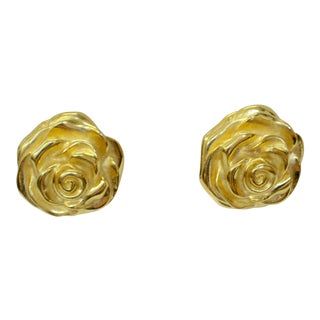 1970s Givenchy Gold-Plated Rose Earrings For Sale