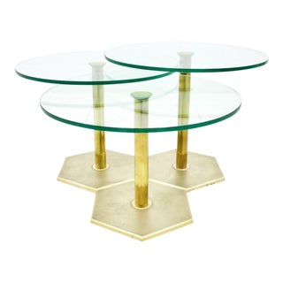 Set of Three Brass and Glass Side Tables, Nesting Tables For Sale