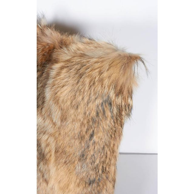 Tan Luxury Fur Throw Pillow in Genuine Coyote and Cashmere For Sale - Image 8 of 9