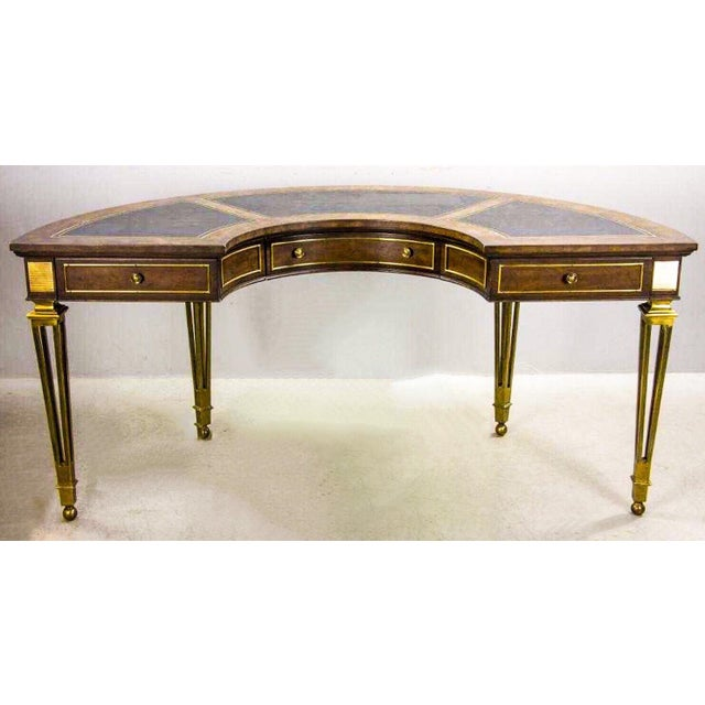 Brass and Walnut Desk by Mastercraft For Sale - Image 10 of 10
