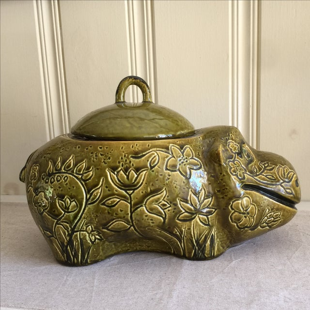 Green Large Mid-Century Hippo Cookie Jar For Sale - Image 8 of 11