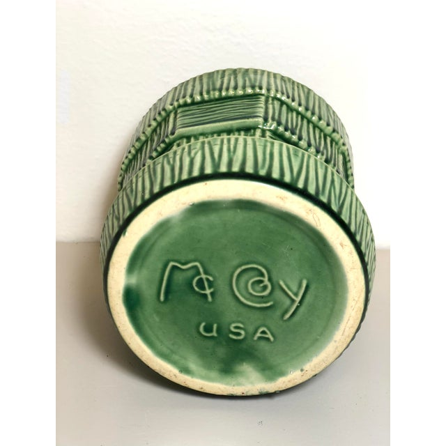 """McCoy Pottery 1940s - 1960s Small"""" Green"""" Mid-Century Flowerpot and Saucer For Sale - Image 4 of 6"""