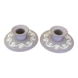 1962 Wedgwood Lilac Jasperware Banquet Candlestick Holders - a Pair For Sale