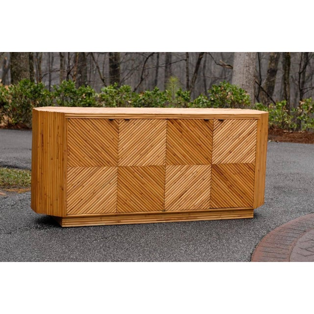 Asian Vintage Split Bamboo Cabinet or Buffet For Sale - Image 3 of 10