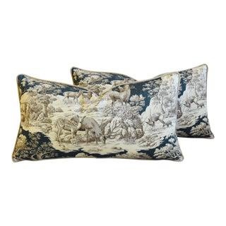 "Woodland Toile Deer & Fawn Feather/Down Pillows 26"" X 15"" - Pair For Sale"
