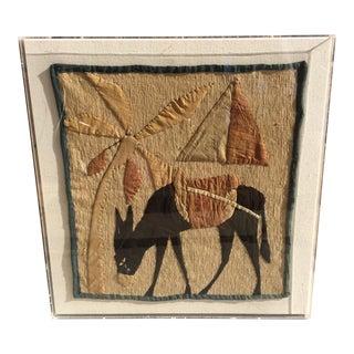 Traditional Desert Scene Framed Textile For Sale