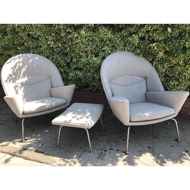 Hans J. Wegner Oculus Chairs & Ottoman - Set of 3 - Image 6 of 6