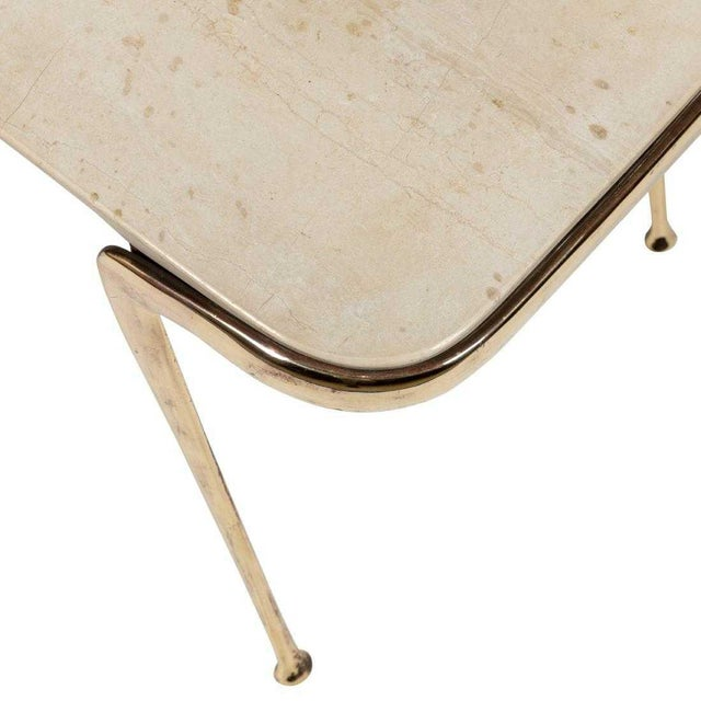 Cesare Lacca Marble and Sculptural Brass Coffee Table by Cesare Lacca For Sale - Image 4 of 7