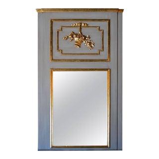 Louis XVI Style Large Painted Gilt Accent Trumeau Mirror