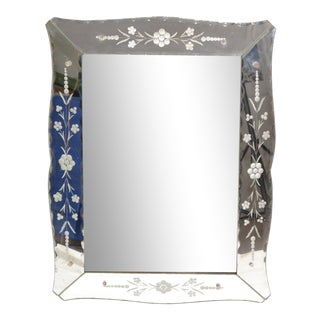 Italian Mid-Century Modern, Faceted & Etched Venetian Wall Mirror For Sale