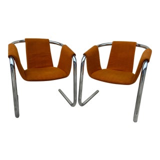 Mid-Century Original Orange Upholstery Italian Zermatt Sling Chairs- a Pair For Sale