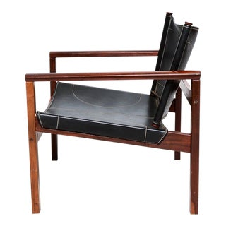 Safari Armchairs Leather and Rosewood Michel Arnoult For Sale