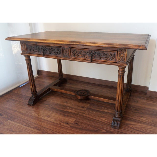 19th Spanish Refectory Table with Two Drawers, Desk Table - Image 2 of 9