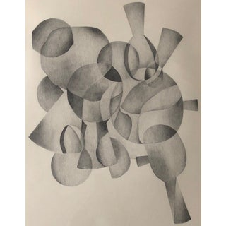 1970s Abstract Drawing on Paper of Overlapping Shapes by Carol Caciolo For Sale