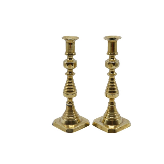 Brass Gold Brass Candlesticks - a Pair For Sale - Image 8 of 8