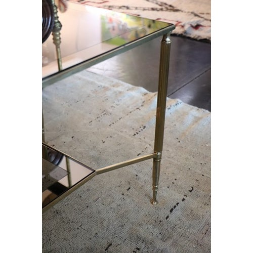 Two Tiered Brass and Mirrored Coffee Table For Sale In Nashville - Image 6 of 7