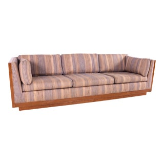 Milo Baughman Style Mid Century Walnut Floating Case Sofa For Sale