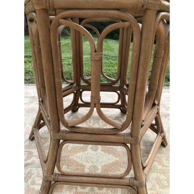 Boho McGuire Style Bent Rattan Table + Octagon Shaped, Beveled Glass Top For Sale In Pittsburgh - Image 6 of 11