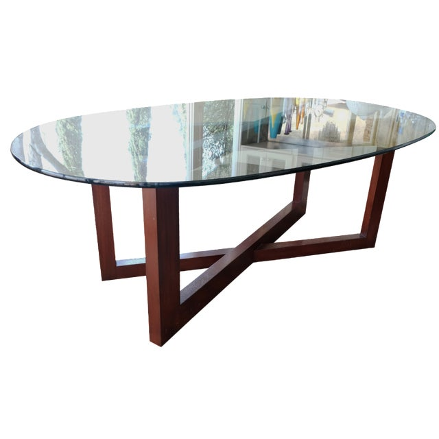 Contemporary Glass & Mahogany Dining Table - Image 1 of 7