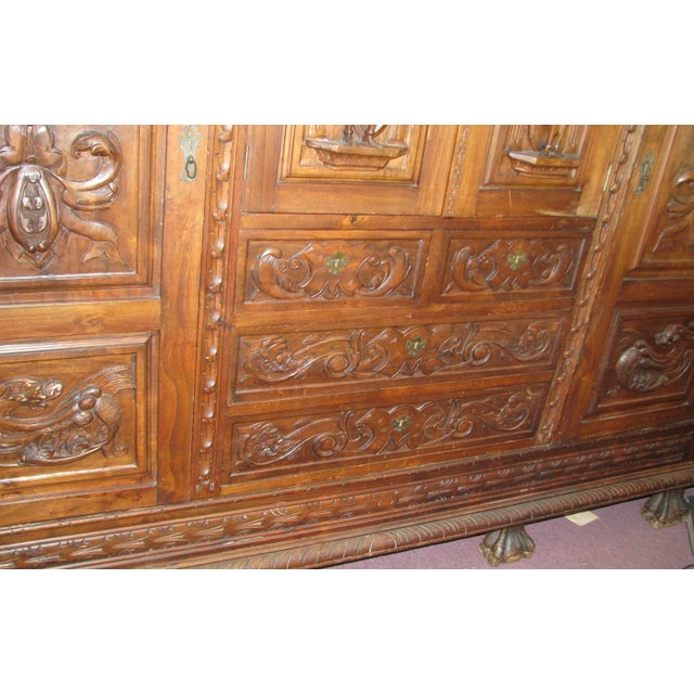 Antique Hand-Carved Italian Revival Armoire - Image 5 of 10