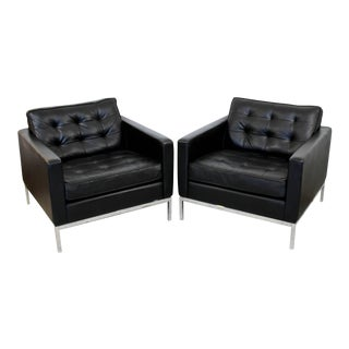 1950s Mid-Century Modern Knoll Black Leather & Chrome Tufted Cube Lounge Chairs - a Pair