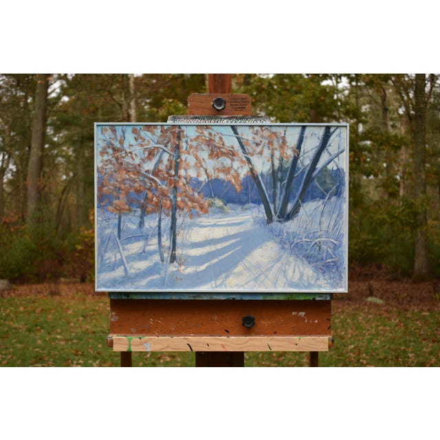 """""""Snowy Path by the Beech Tree"""" Contemporary Acrylic Painting by Stephen Remick, Framed For Sale - Image 9 of 11"""