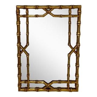 Italian Giltwood Faux Bamboo Mirror For Sale