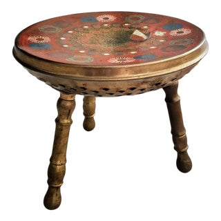 Mid-Century Gilt Painted Peacock Brass Warmer Stool For Sale