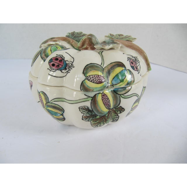Ceramic Vintage Chinoiserie Porcelain Pumpkin From Charles Willis Atlanta For Sale - Image 7 of 9