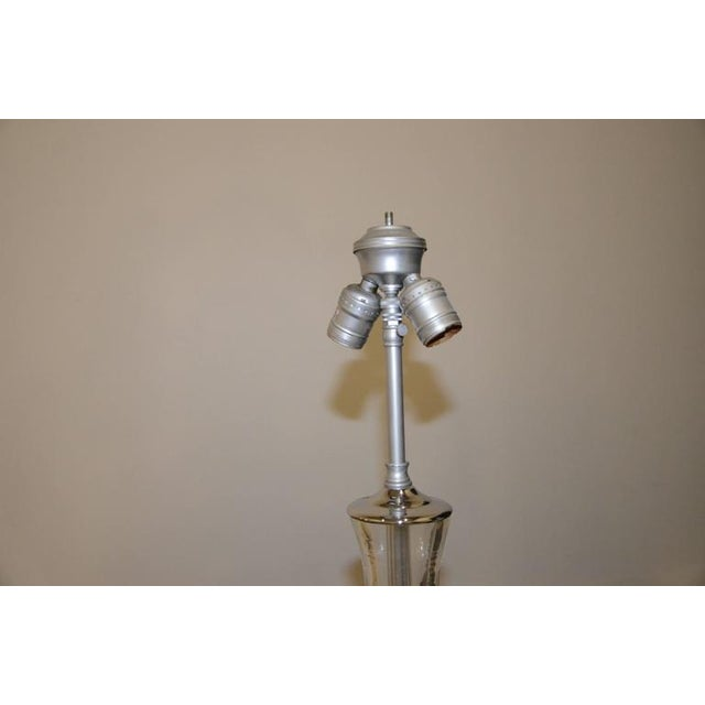Pair of White Murano Glass and Chrome Table Lamps with Lucite bases by Vistosi of Italy - Image 7 of 8