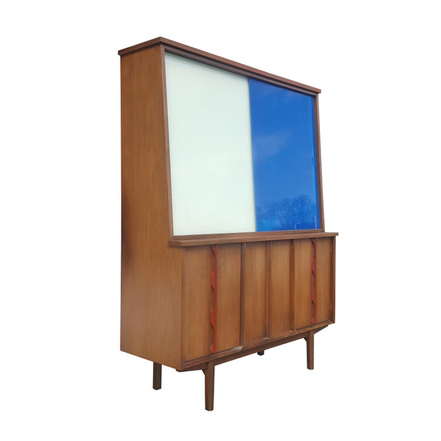 Mid-Century Modern 1970s Mid-Century Modern/Brutalist Display Cabinet/Hutch For Sale - Image 3 of 7