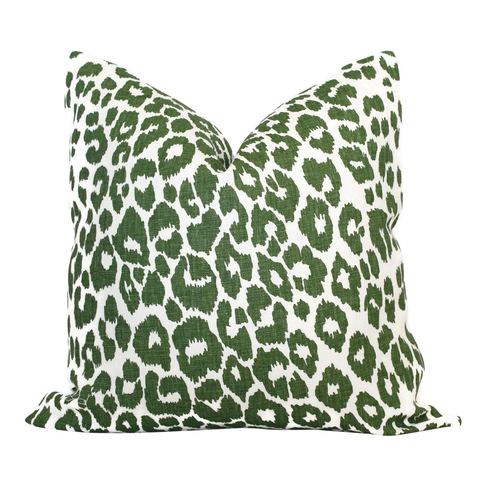 20 X 20 Schumacher Leopard In Green Decorative Pillow Cover Chairish
