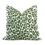 "Image of 20"" x 20"" Schumacher Leopard in Green Decorative Pillow Cover For Sale"