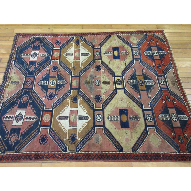 "Blue Vintage Handmade Wool Turkish Anatolian Rug-4'3'x4'10"" For Sale - Image 8 of 10"