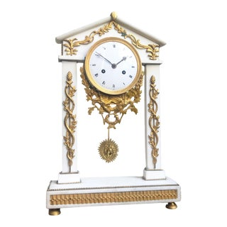 18th C Neoclassical Louis XVI White Marble Column Mantle Clock For Sale