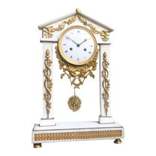 18th C Neoclassical Louis XVI White Marble Column Mantle Clock For Sale