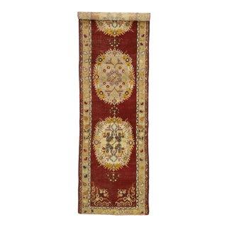 Vintage Turkish Oushak Hallway Runner - 03'04 X 12'10 For Sale
