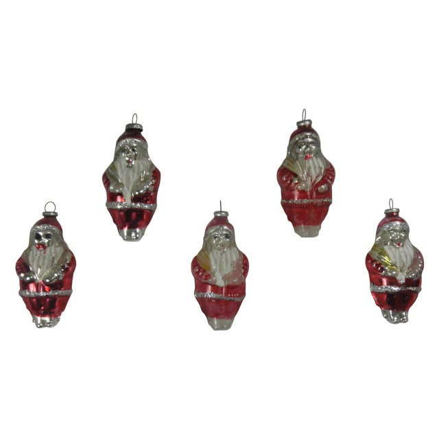Glass Santa Ornaments - Set of 5 - Image 1 of 3