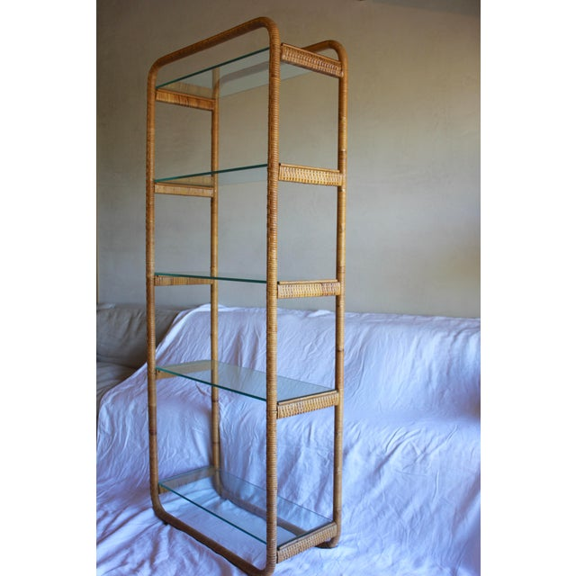 Tan 1970s Vintage Milo Baughman Style Italian Rattan Wrapped Cane Bookcase Etagere Wall Unit For Sale - Image 8 of 13