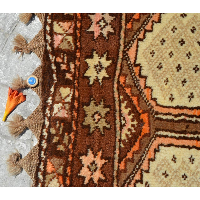"Textile Turkish Tribal Rug. Faded Colors Petite Kilim Rug - 3'6"" X 4'11"" For Sale - Image 7 of 12"