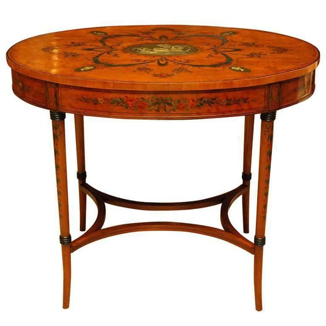 Sheraton Style Edwardian Painted Oval Satinwood Center Table For Sale In New York - Image 6 of 6