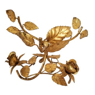 1950s Hollywood Regency Gilt Gold Roses Leaves Bowl Stand