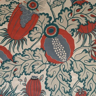 English Christopher Farr Cloth Carnival Handprinted Linen Fabric- 2 Yards For Sale