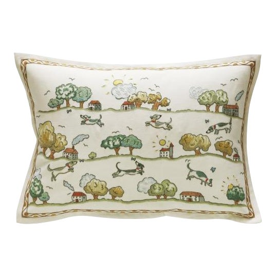 "Domenica More Gordon ""Jumping Over Houses"" Pillow - Image 1 of 6"