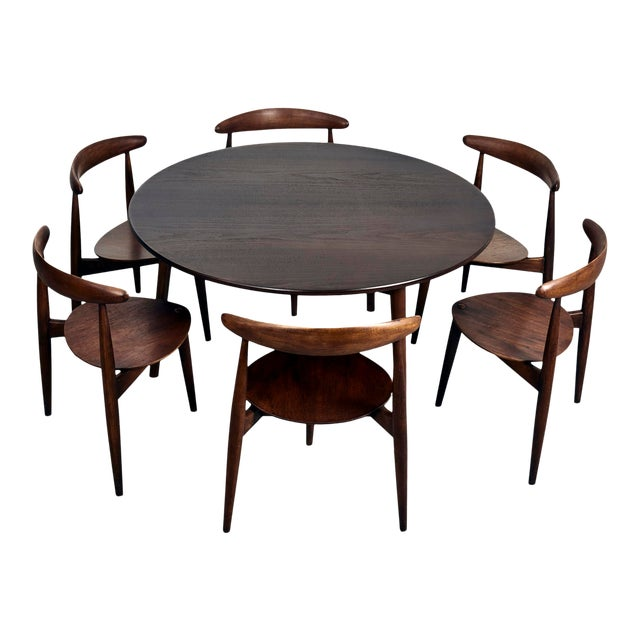 Hans Wegner for Fritz Hansen Heart Dining Set With 6 Chairs, Circa 1950's For Sale
