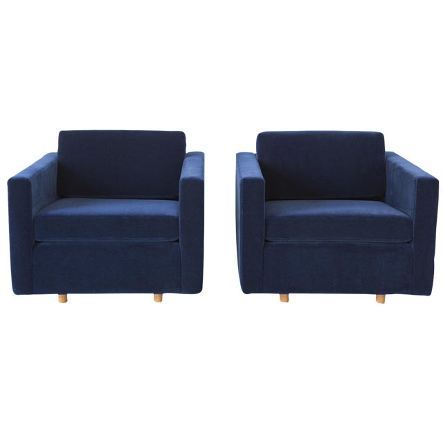 Jack Cartwright Blue Mohair Cube Chairs - Pair - Image 1 of 11