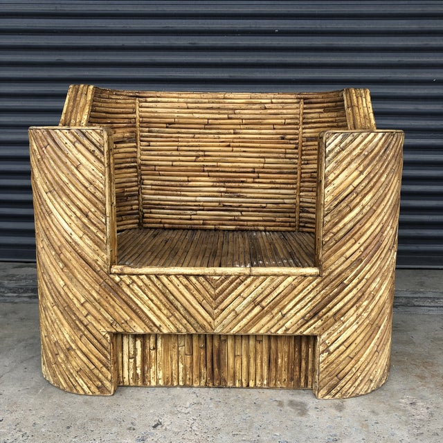 Vintage split reed rattan chair. A solid, sturdily constructed piece. Oversized shape with diagonal split reed construction.